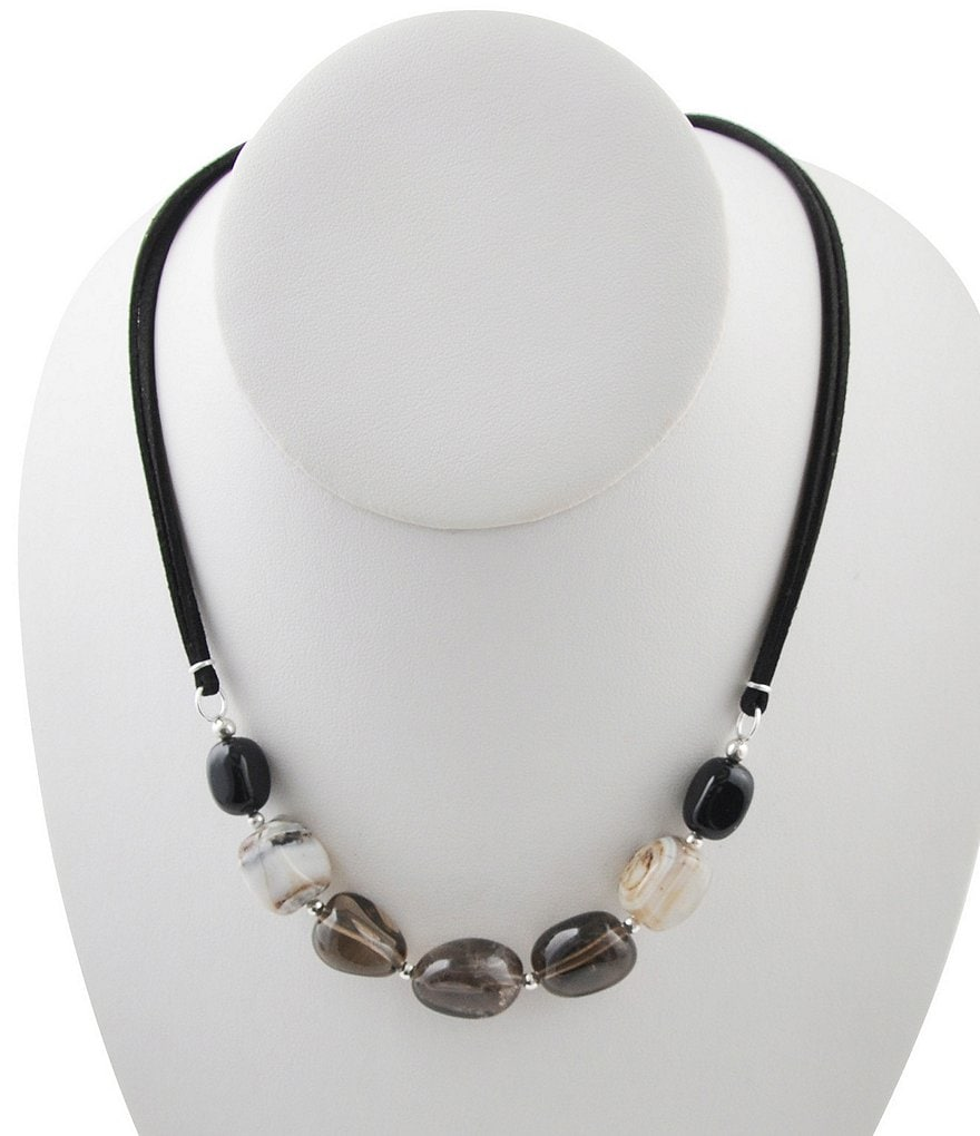Calvary Sterling Silver, Onyx, Quartz & Agate Bead Leather Necklace