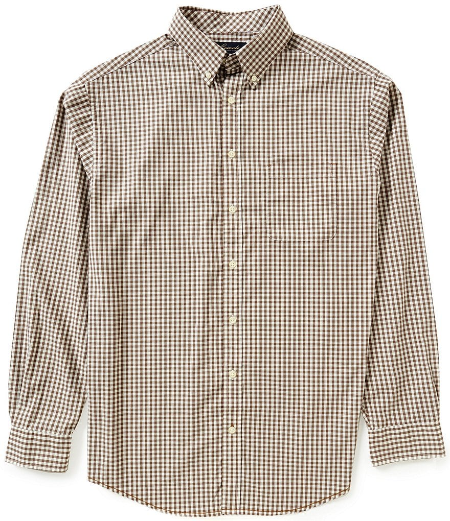Roundtree & Yorke Casuals Big & Tall Long-Sleeve Gingham Sportshirt