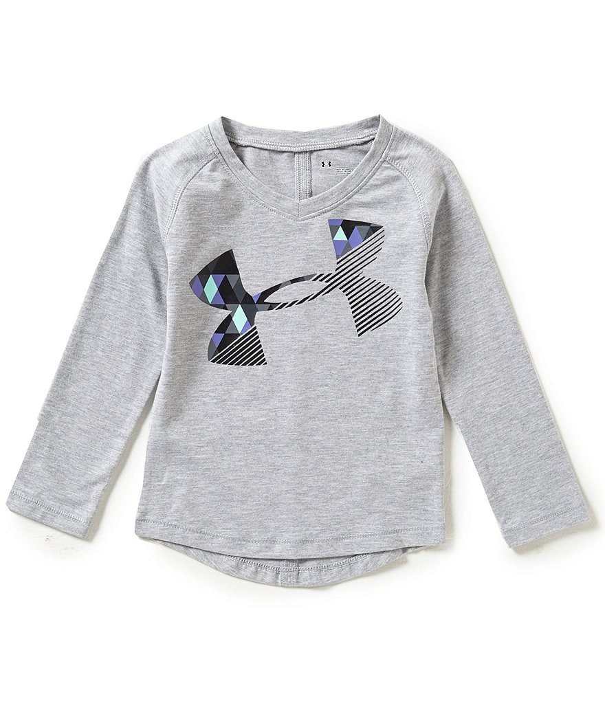 Under Armour Little Girls 2T-6X Tri-Meta Cropped Logo Long-Sleeve Tee