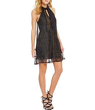C&V Chelsea & Violet Tie Neck Metallic Trapeze Dress