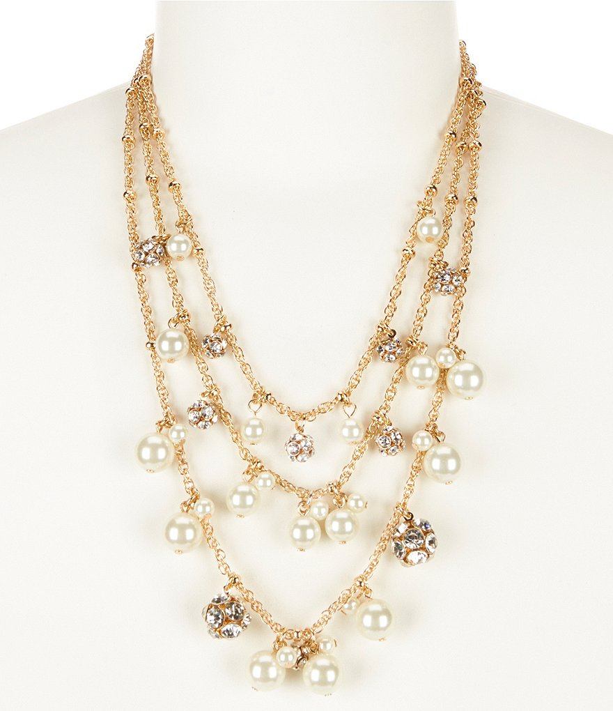 Dillard´s Tailored Pearl & Crystal Fireball Multi-Strand Necklace