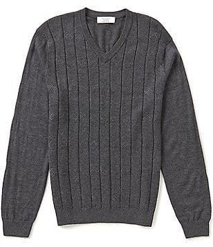 Turnbury Big & Tall V-Neck Merino Blend Cable Pullover Sweater