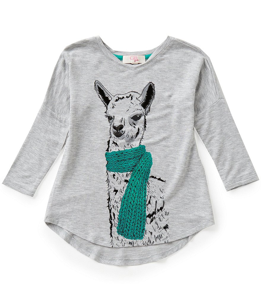 GB Girls Little Girls 4-6X Long-Sleeve Llama Tee