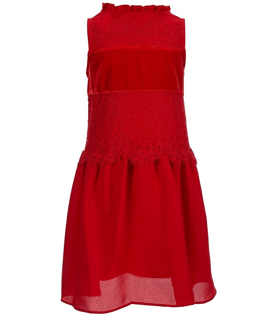 GB Girls Little Girls 4-6X Velvet & Lace Paneled Dress