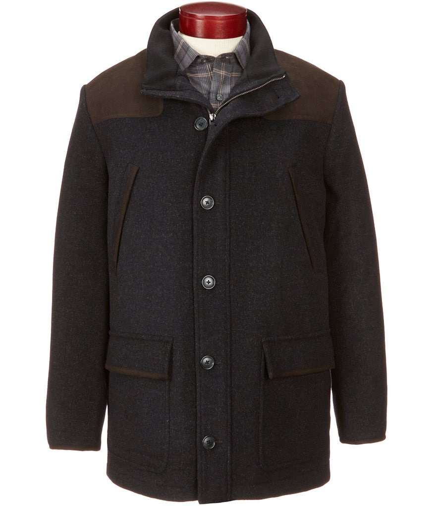 Cremieux Signature Big & Tall Wool and Faux-Suede Field Coat
