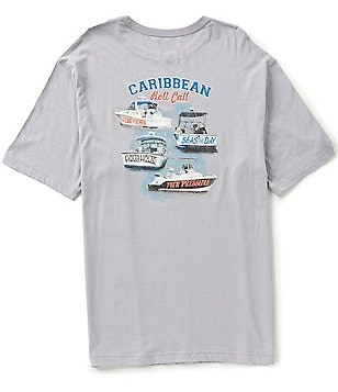Caribbean Big & Tall Short-Sleeve Boats Screen Print Graphic Tee
