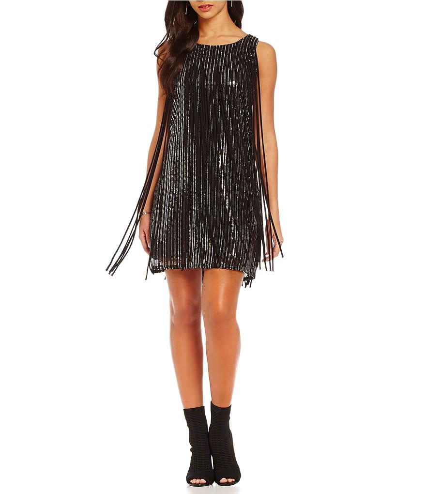 Chelsea & Violet Sequin with Fringe Sleeveless Dress