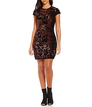 Chelsea & Violet Velvet with Sequins Cap Sleeve Dress