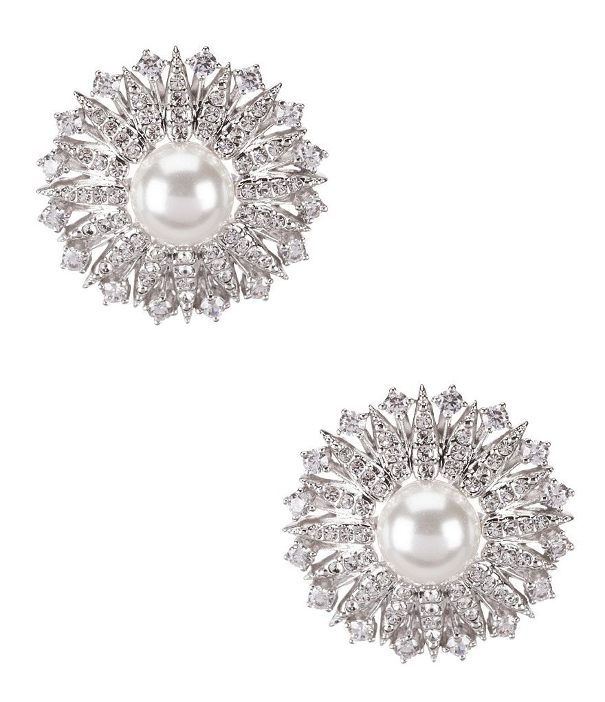 Nadri Venus Cubic Zirconia & Pearl Stud Clip-On Earrings