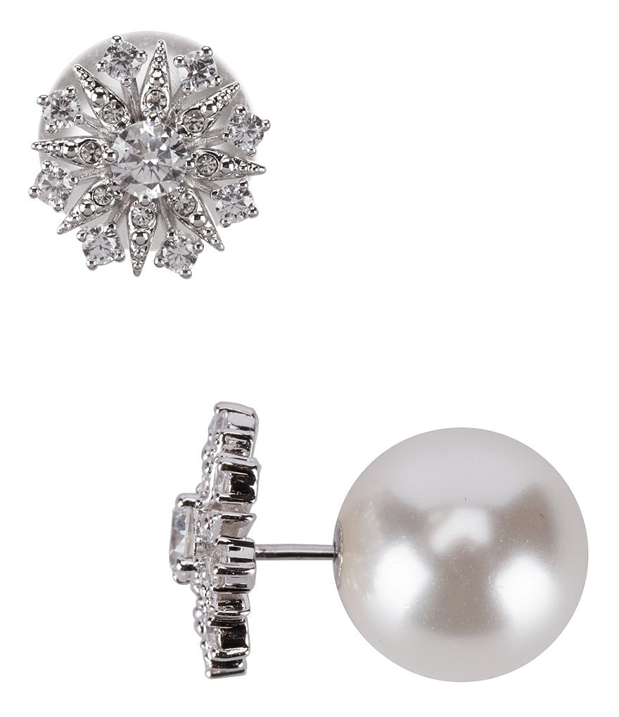 Nadri Venus Cubic Zirconia & Pearl Front/Back Earrings