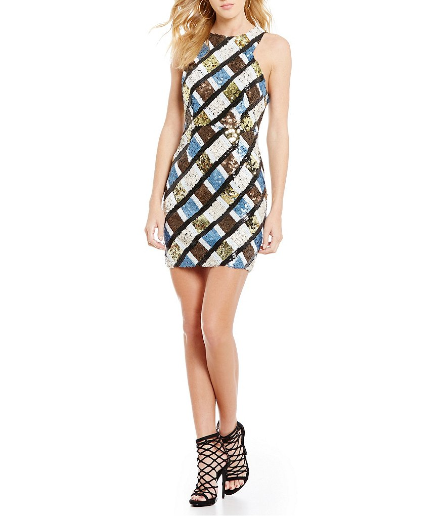 Chelsea & Violet Mixed Sequin Pencil Halter Dress