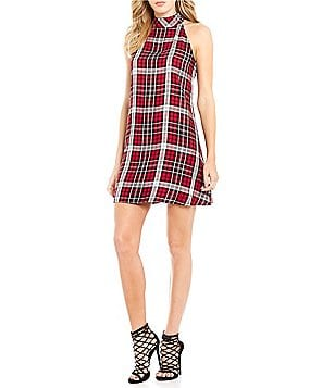 Chelsea & Violet Plaid Halter Sleeveless Dress