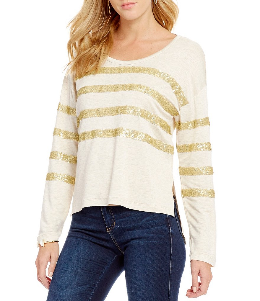 Copper Key Striped Sequin Tee