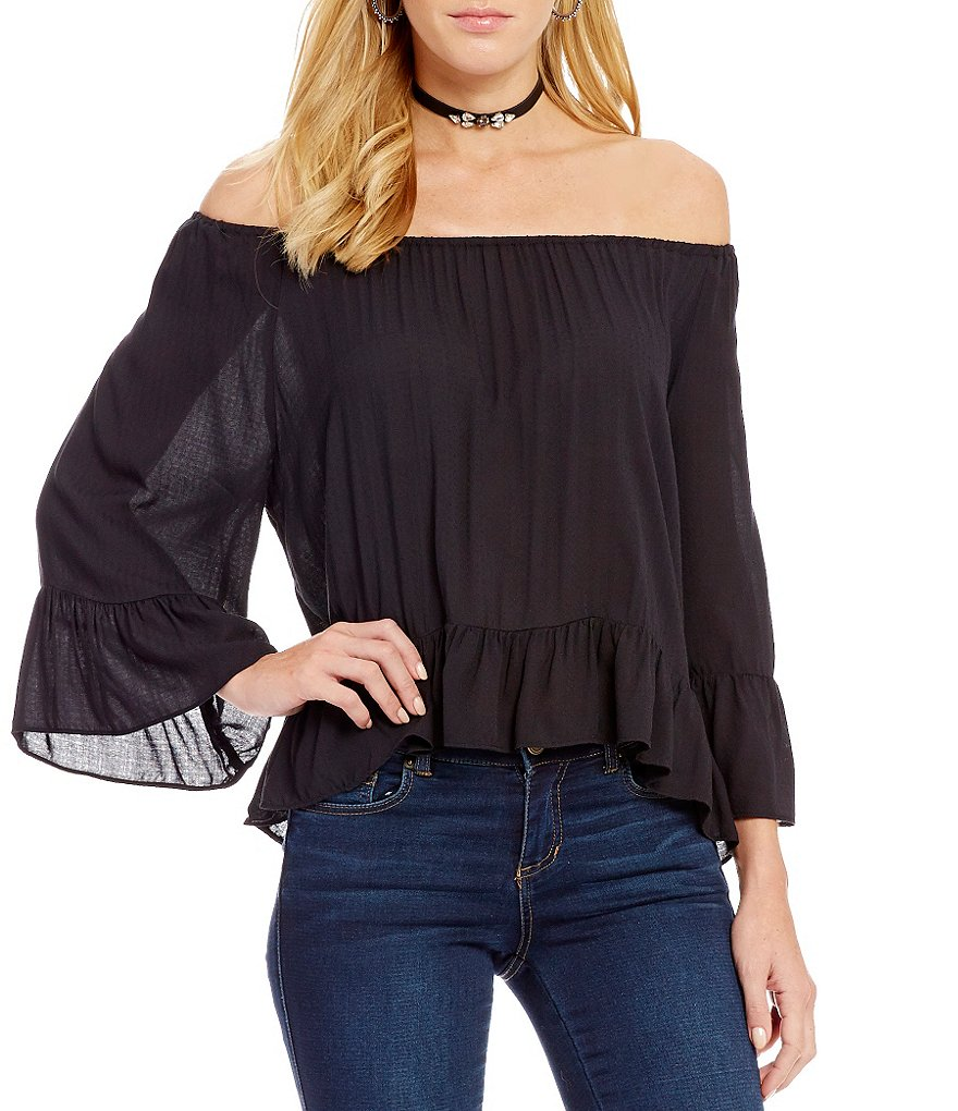 Copper Key Off-The-Shoulder Bell-Sleeve Blouse