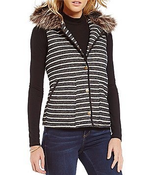Copper Key Striped Faux Fur Hooded Vest