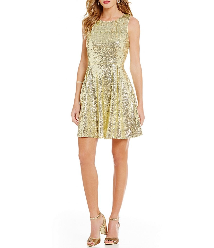 Copper Key Sleeveless Sequin A-Line Dress