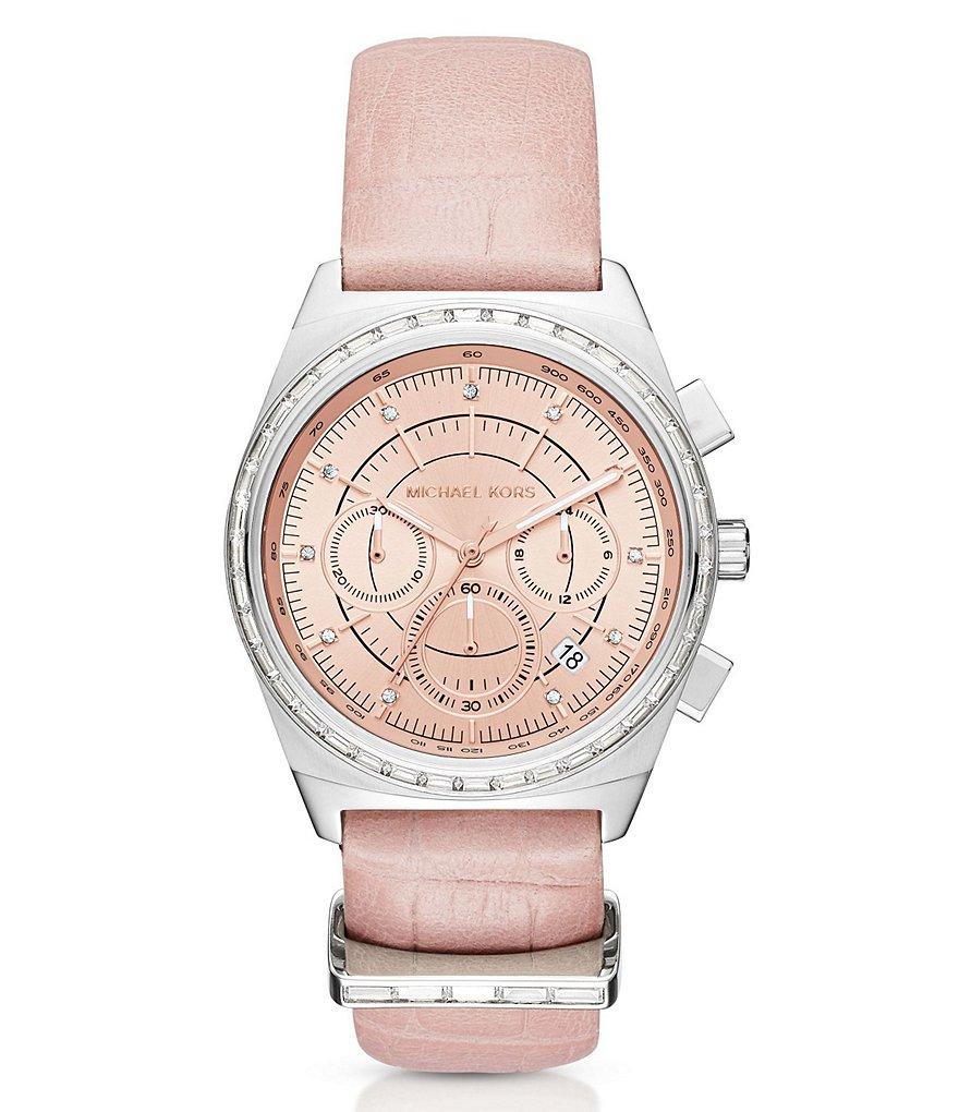 Michael Kors Vail Chronograph & Date Leather-Strap Watch