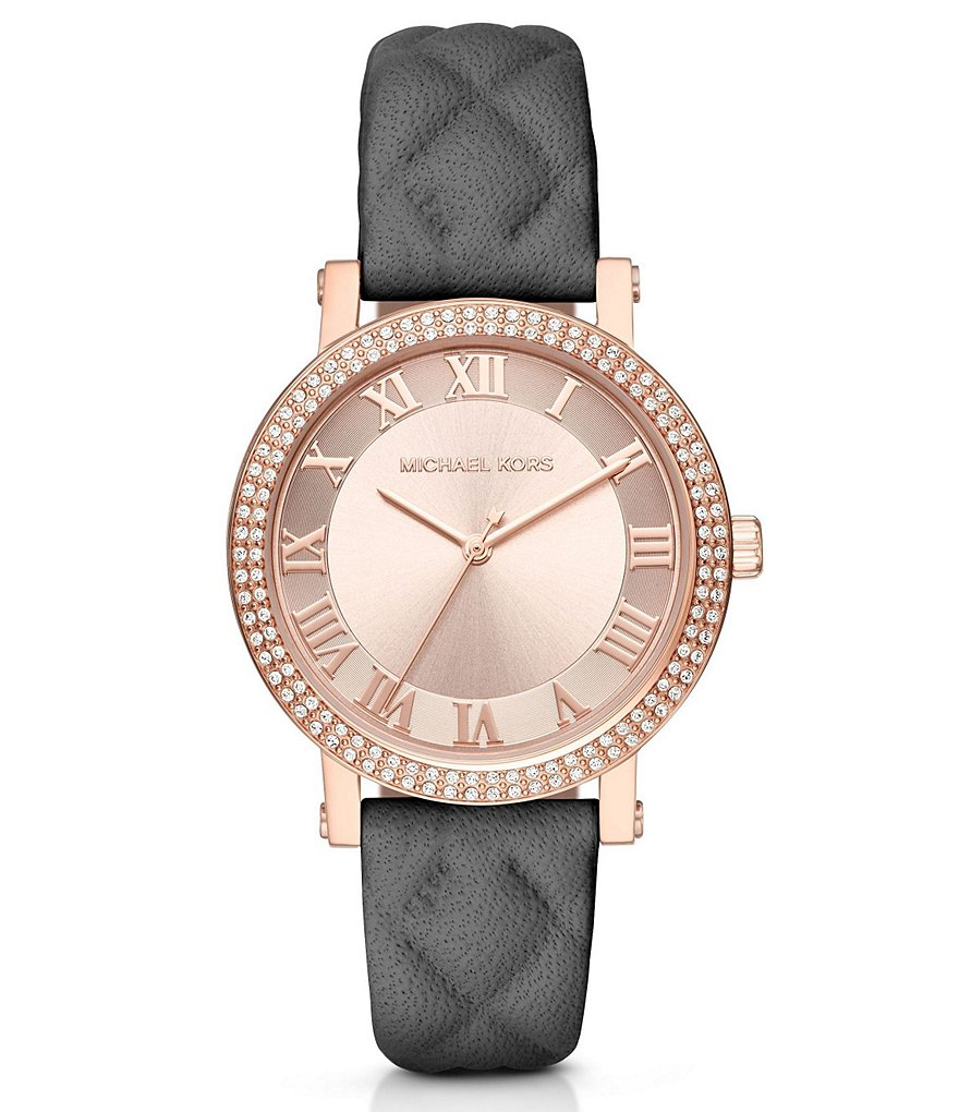 Michael Kors Norie Three-Hand Leather-Strap Watch