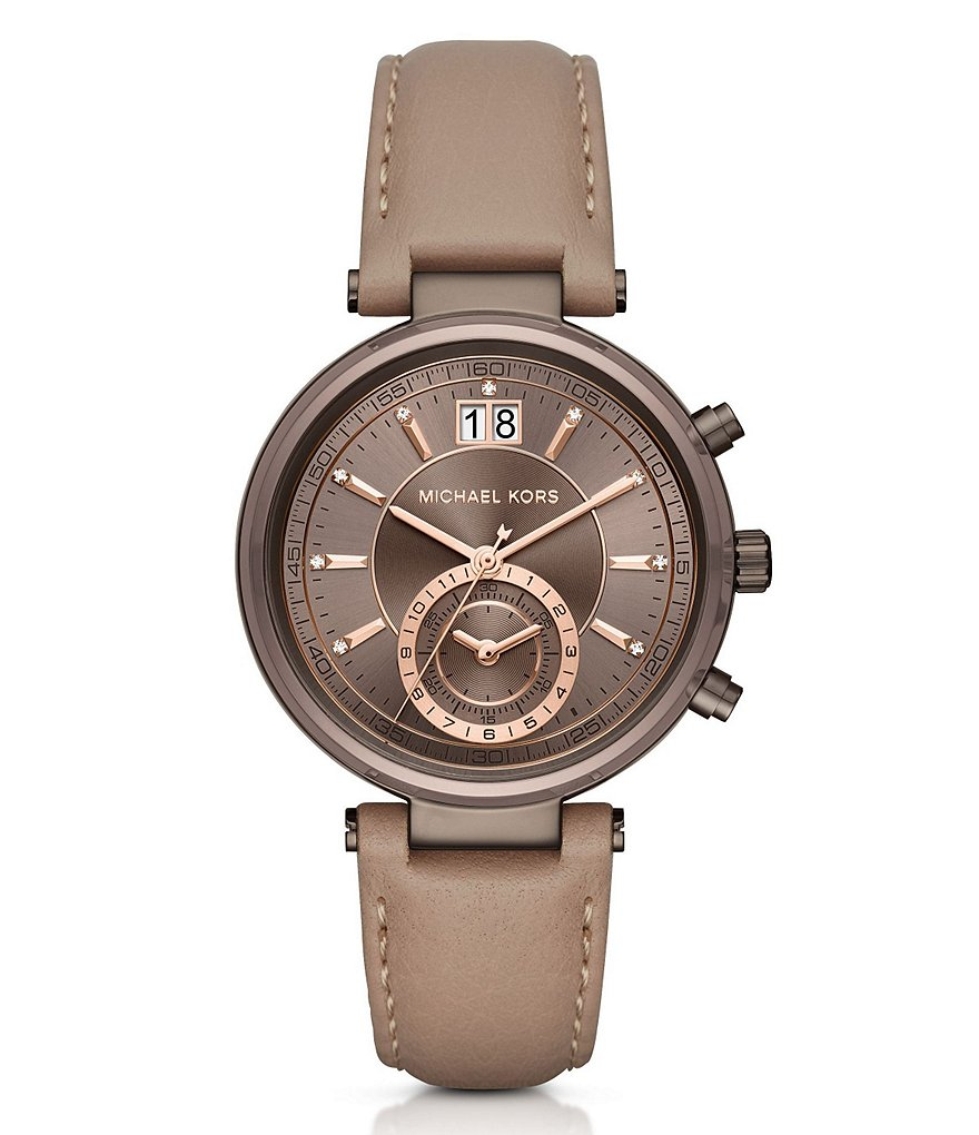 Michael Kors Sawyer Chronograph & Date Leather-Strap Watch