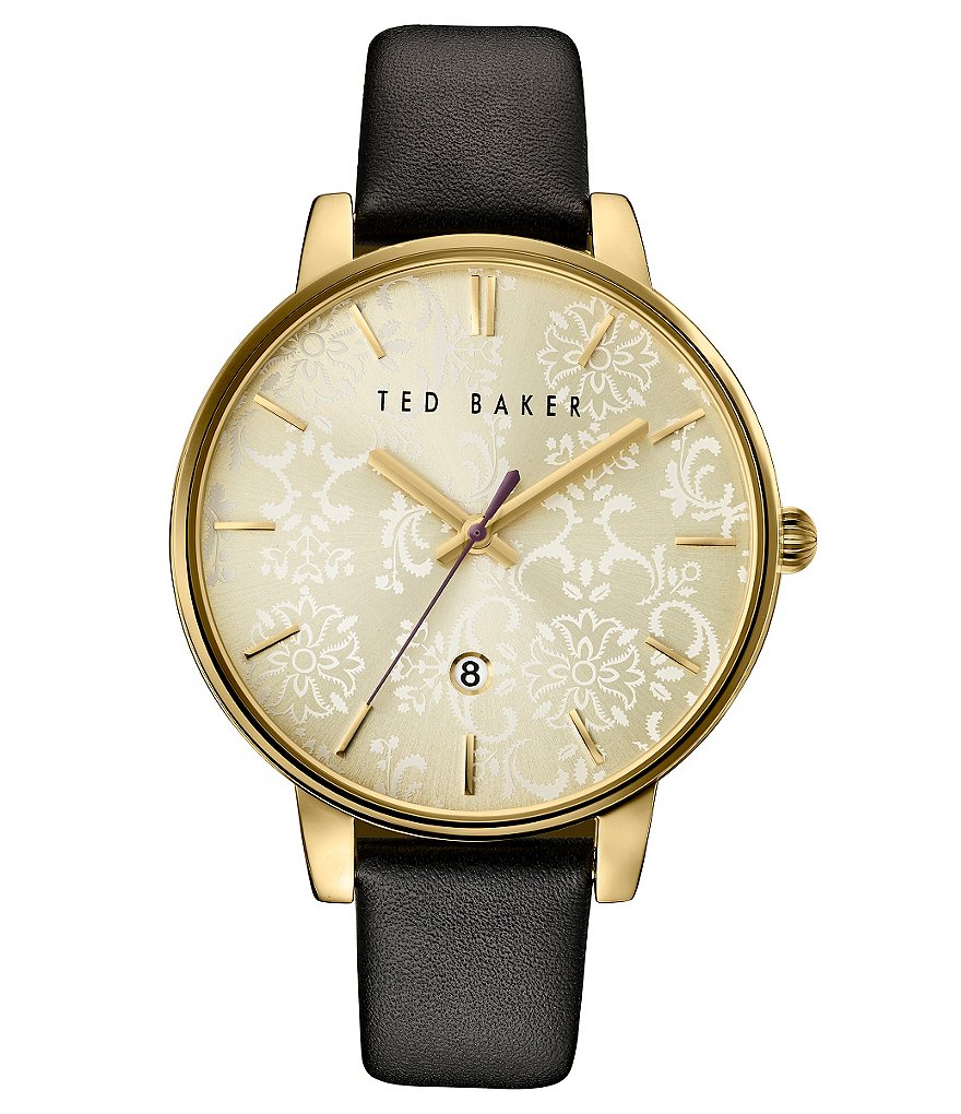 Ted Baker London Paisley Mother-of-Pearl Analog & Date Leather-Strap Watch