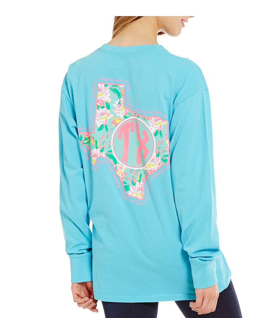 Royce Texas Preppy Floral State Long-Sleeve Graphic Tee