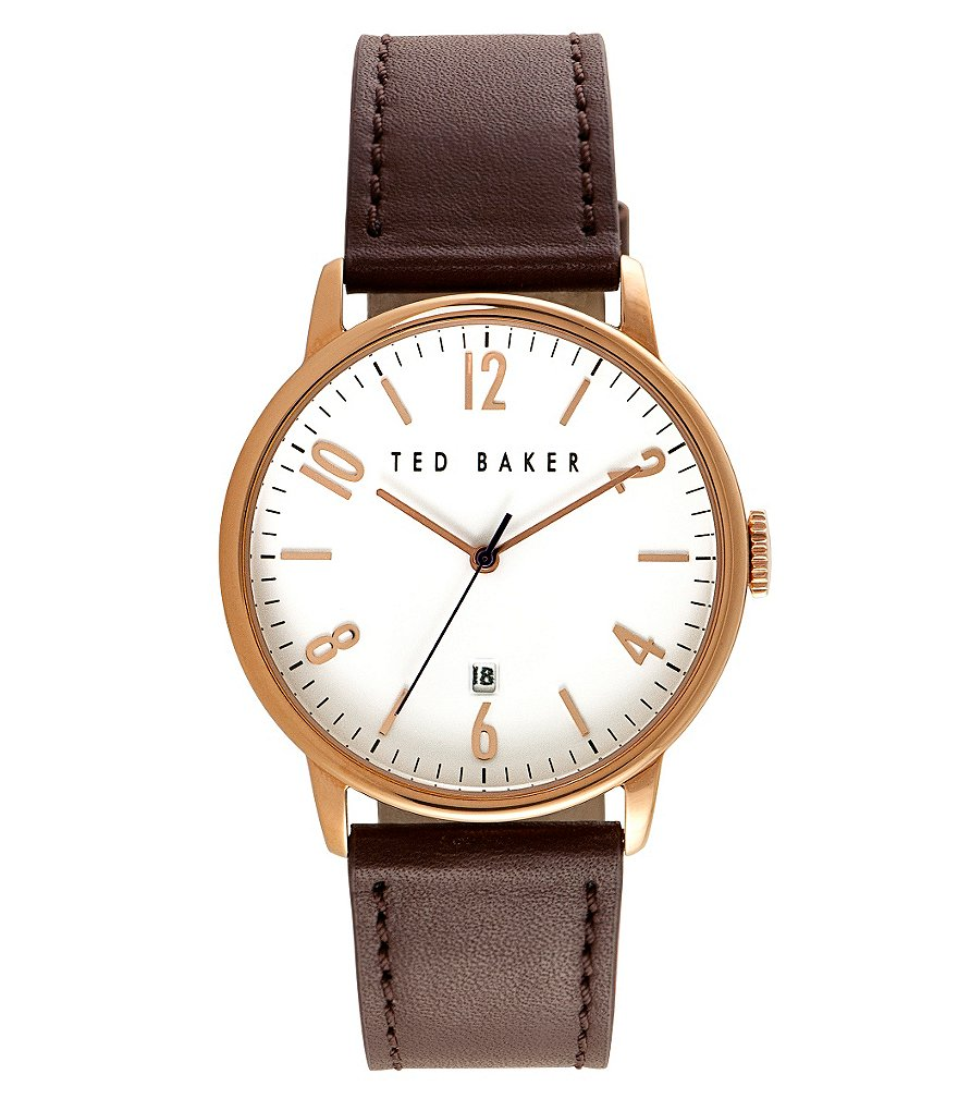 Ted Baker London Daniel Analog & Date Leather-Strap Watch