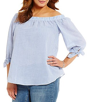 Moa Moa Plus Off-The-Shoulder Chambray Top