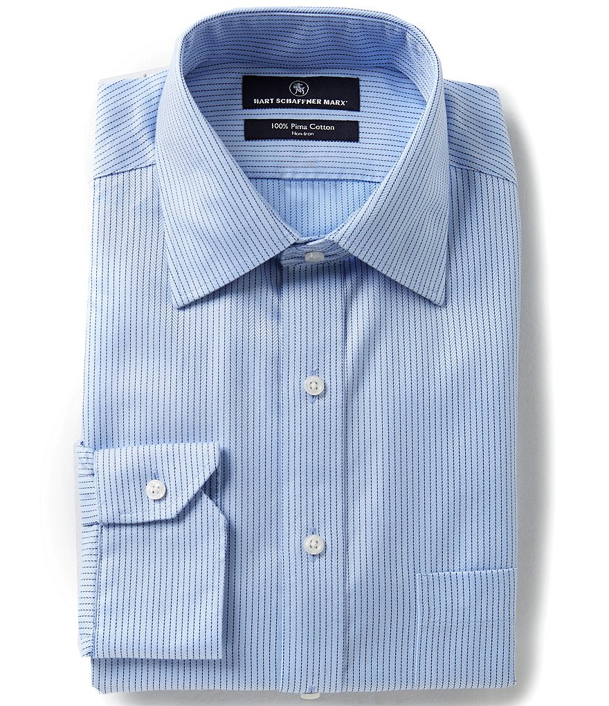 Hart Schaffner Marx Non-Iron Fitted Classic-Fit Spread-Collar Tonal Stripe Herringbone Dress Shirt