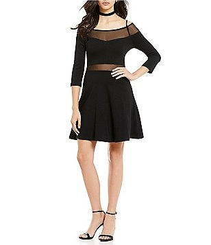 French Connection Tatlin Beau Mesh Jersey Off-the-Shoulder 3/4 Sleeve Dress