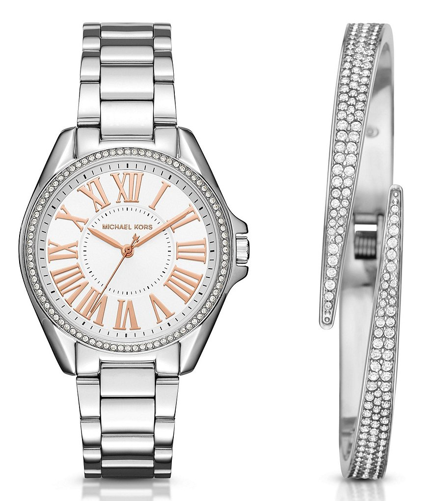 Michael Kors Kacie Stainless Steel Bracelet Watch Gift Set