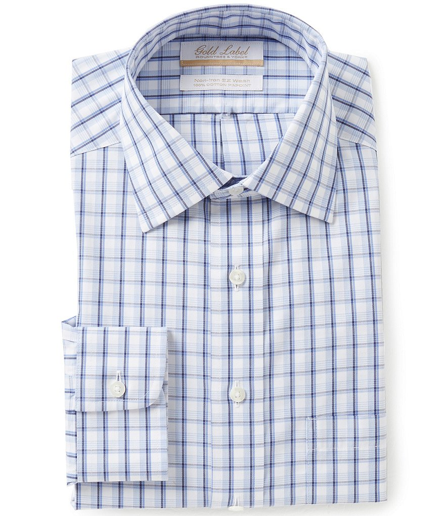 Roundtree & Yorke Gold Label Non-Iron Regular Full-Fit Spread-Collar Check Dress Shirt