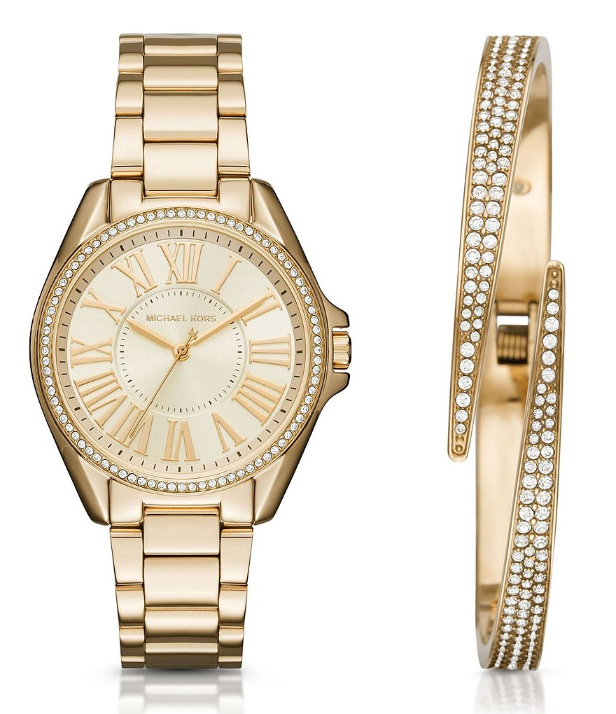 Michael Kors Kacie Analog Bracelet Watch & Pavé Bangle Bracelet Gift Set