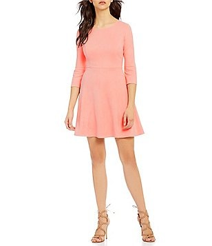 Skies Are Blue Crew Neck Long Sleeve Faux-Suede Fit-and-Flare Dress
