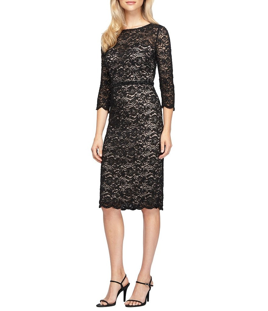 Alex Evenings Petite Illusion Embellished Lace Dress