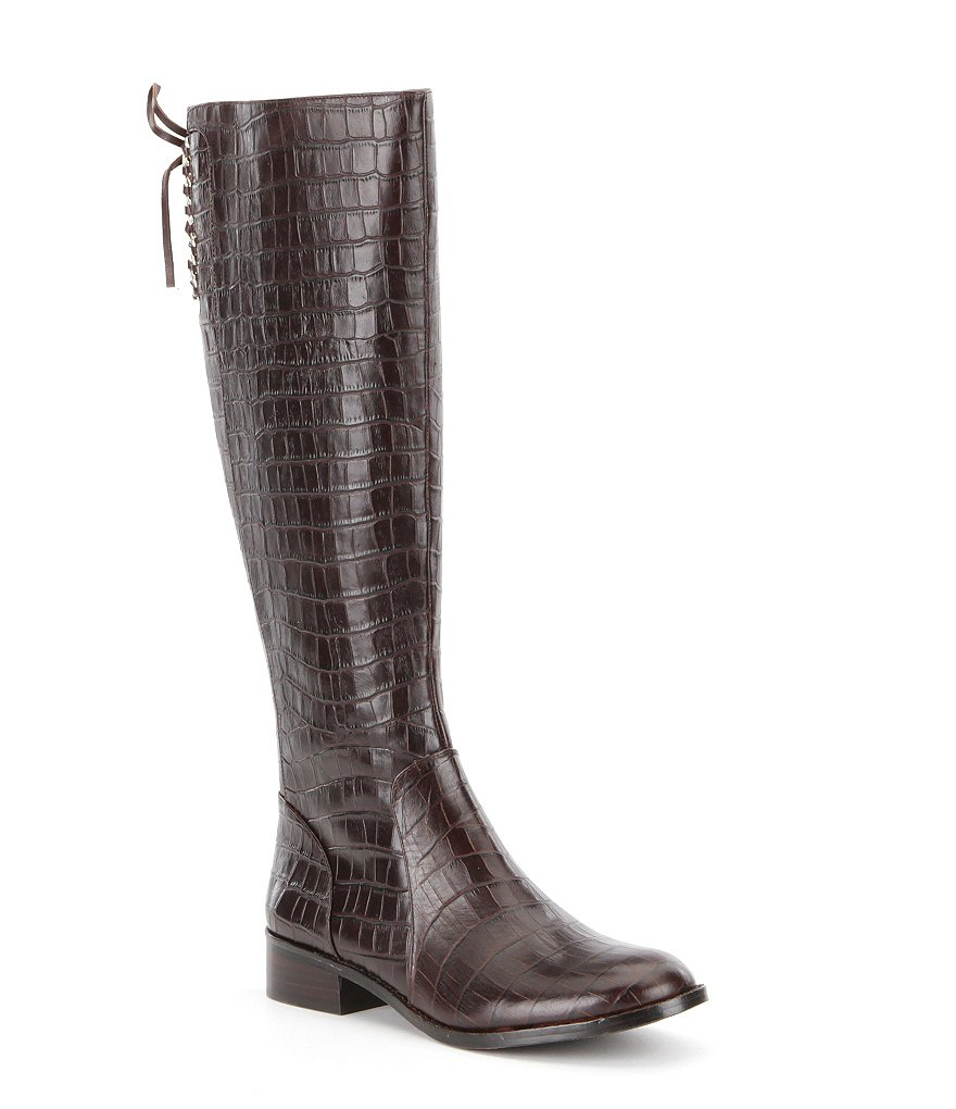 Antonio Melani Eastyn Crocodile Embossed Leather Lace Up Back Detail Wide Calf Ridng Boots