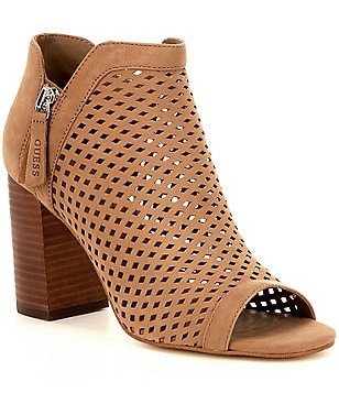 Guess Oana Perforated Leather V-Throat Peep-Toe Booties