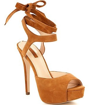 Guess Kassie Suede Ankle Wrap Dress Sandals