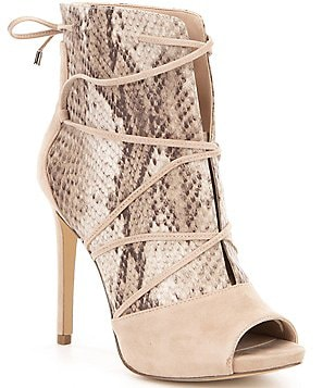Guess Ayana5 Leather & Snake Print Criss Cross Peep Toe Shooties