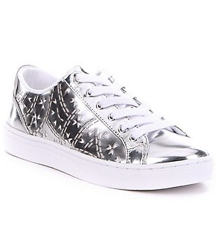 Guess Jacalin Perforated Metallic Leather Lace-Up Sneakers