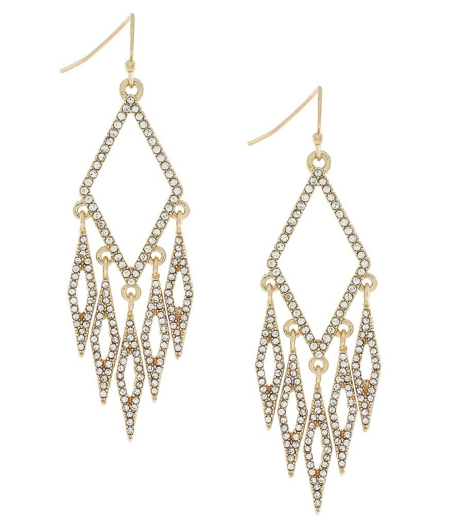 Jessica Simpson Dancing in the Moonlight Pavé Chandelier Earrings