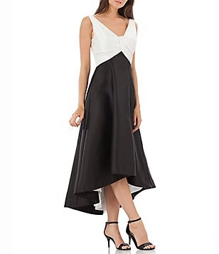 Carmen Marc Valvo Infusion Two Tone V-Neck Sleeveless Hi-Low Gown
