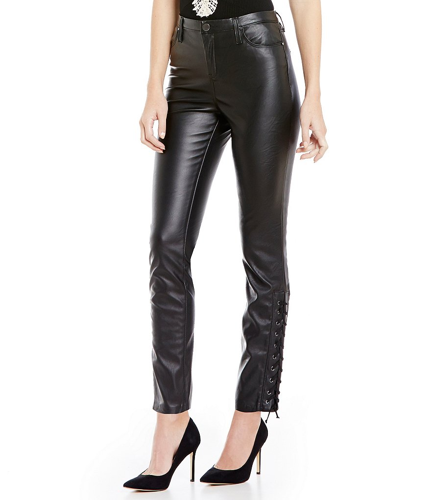 Chelsea & Violet Faux- Leather Lace-Up Side Skinny Pant