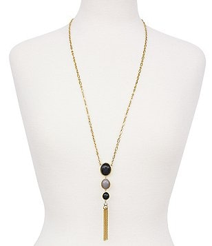 Cole Haan Chain-Tasseled Onyx & Freshwater Pearl Pendant Necklace