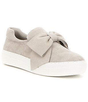 J Slides Beauty Leather Bow Detail Slip On Flatform Sneakers