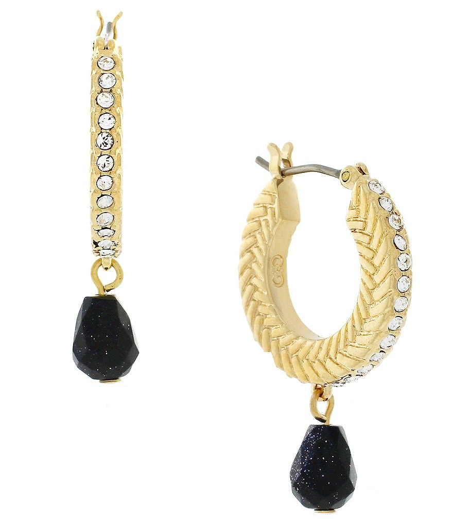 Cole Haan Hugs & Kisses Textured Hoop Stone Drop Earrings