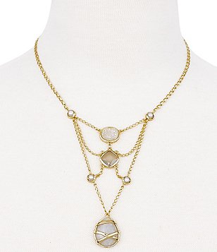 Cole Haan To the Moon Openwork Moonstone & Onyx Statement Necklace