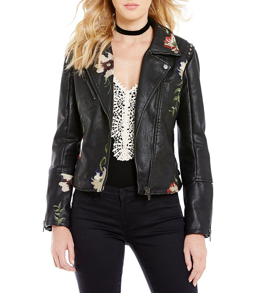 Chelsea & Violet V-Neck Embroidered Faux Leather Moto Jacket