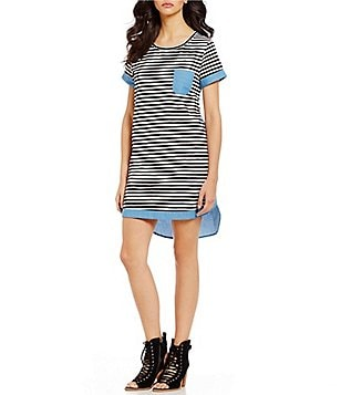 THML Crew Neck Short Sleeve Striped T-Shirt Dress