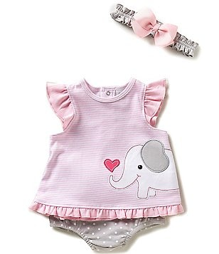 Starting Out Newborn-9 Months Elephant-Appliquéd Ruffle Top & Bloomer Set