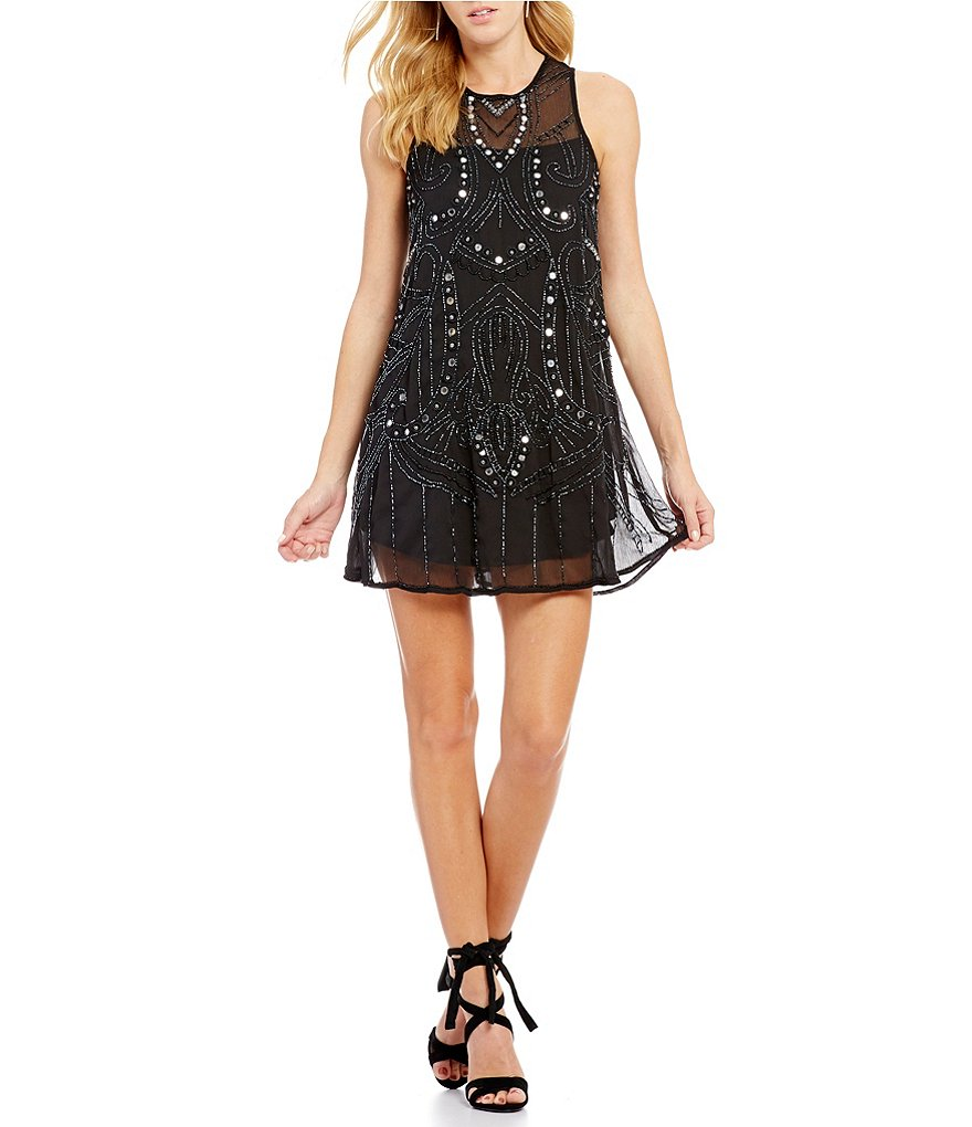 Chelsea & Violet Interstellar Sleeveless Beaded Shift Dress